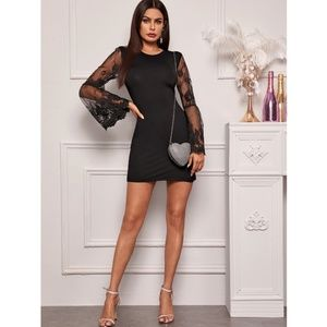 Lace Detail Flounce Sleeve Black Mini Dress